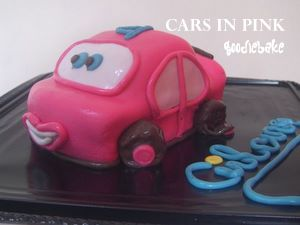 Cars in Pink Almond Chocolate Cake